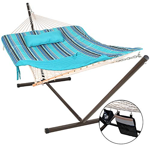 - Lazy Daze Hammocks 12 Feet Steel Hammock Stand with Cotton Rope Hammock Combo, Quilted Polyester Hammock Pad, Pillow, Mag Bag and Cup Holder, Blue Ocean Stripe