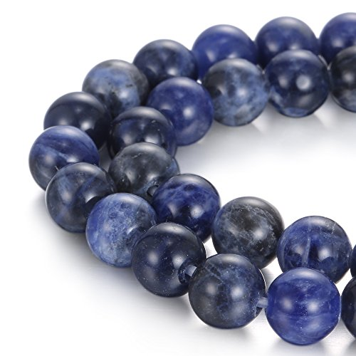 BRCbeads Natural 2.0mm Large Hole Sodalite Gemstone Loose Beads Smooth Round 10mm Crystal Energy Stone Healing Power for Jewelry Making