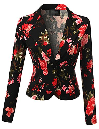 SJSP Women Scuba Fabric Textured Open Type Casual Chic Blackred Blazer,Large,L