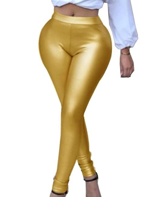 53a7985dce Polainas Pantalones Para Mujer De Pu Cuero Imitación Leggins Pantalones  Largos Leggings Oro L  Amazon.es  Ropa y accesorios