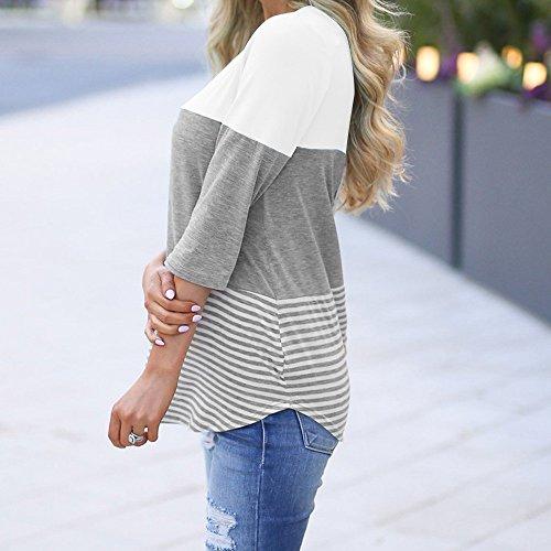 Blanc Couleur et U Blouse Grande Blocs Blouses Chemisiers de Blouse Taille Femme des Longues Couleur Col Tops Manches Shirt Casual Chemisier Weant Femme Unie pissage qTfSnwp