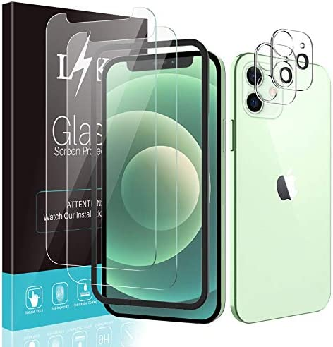 [4 Pack] LϟK 2 Pack Tempered Glass Screen Protector + 2 Pack Camera Lens Protector Compatible for iPhone 12 5G 6.1 inch [NOT for iPhone 12 Pro] Tempered Glass, Come with [Installation Tray -(Black)]