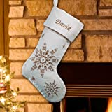 Embroidered Gold Snowflakes Stocking