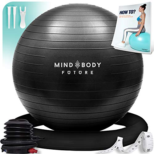 Exercise Ball Chair (55cm, 65cm & 75cm) – Yoga Ball & Stability Ring. For Pregnancy, Balance, Pilates or Birthing…