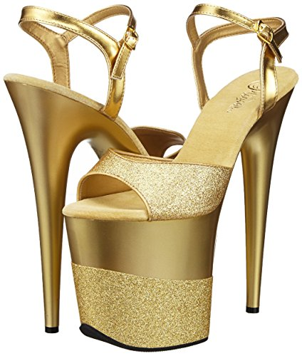 Flamingo Gltr gold Donna Plateau gold Pleaser 809 gltr Con Oro Sandali 2g dqxwCnU6