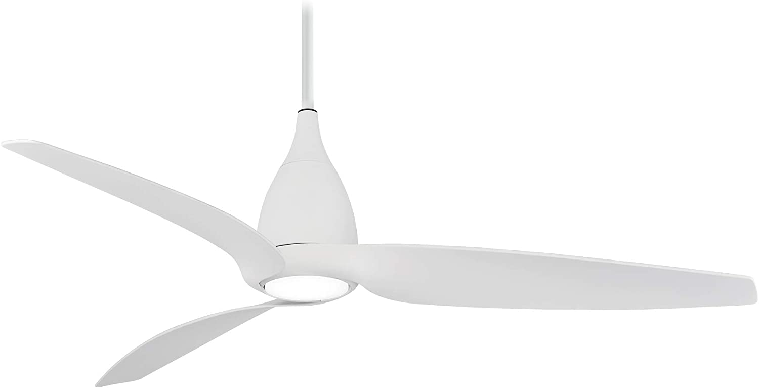 Minka-Aire F831L-WHF Tear 60 Inch Ceiling Fan with Integrated LED Light and DC Motor in Flat White Finish