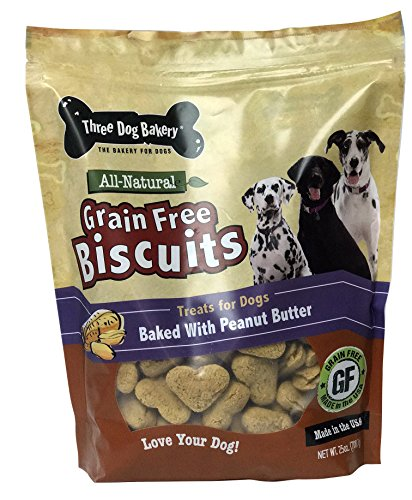 Three Dog Bakery 320184 25 oz Grain Free Biscuits Baked Dog Treats - Peanut Butter, One Size