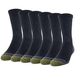 Premium comfortable cotton crew length socks feature AquaFX technology to keep feet dry. Full cushion sole provides extra comfort and foot protection. Reinforced comfort toe for long lasting wear which makes this a favorite Gold Toe style.   ...