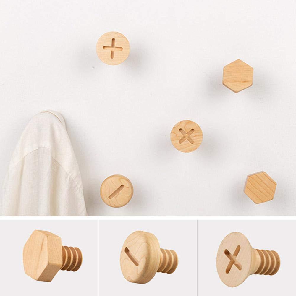 Llaves Adminitto88 1 Pieza de Creativa Ganchos de Madera Rama de Pared montada Ganchos de Modelado Toallas Tornillos de Madera Sombreros Perchas Perchas para Abrigos