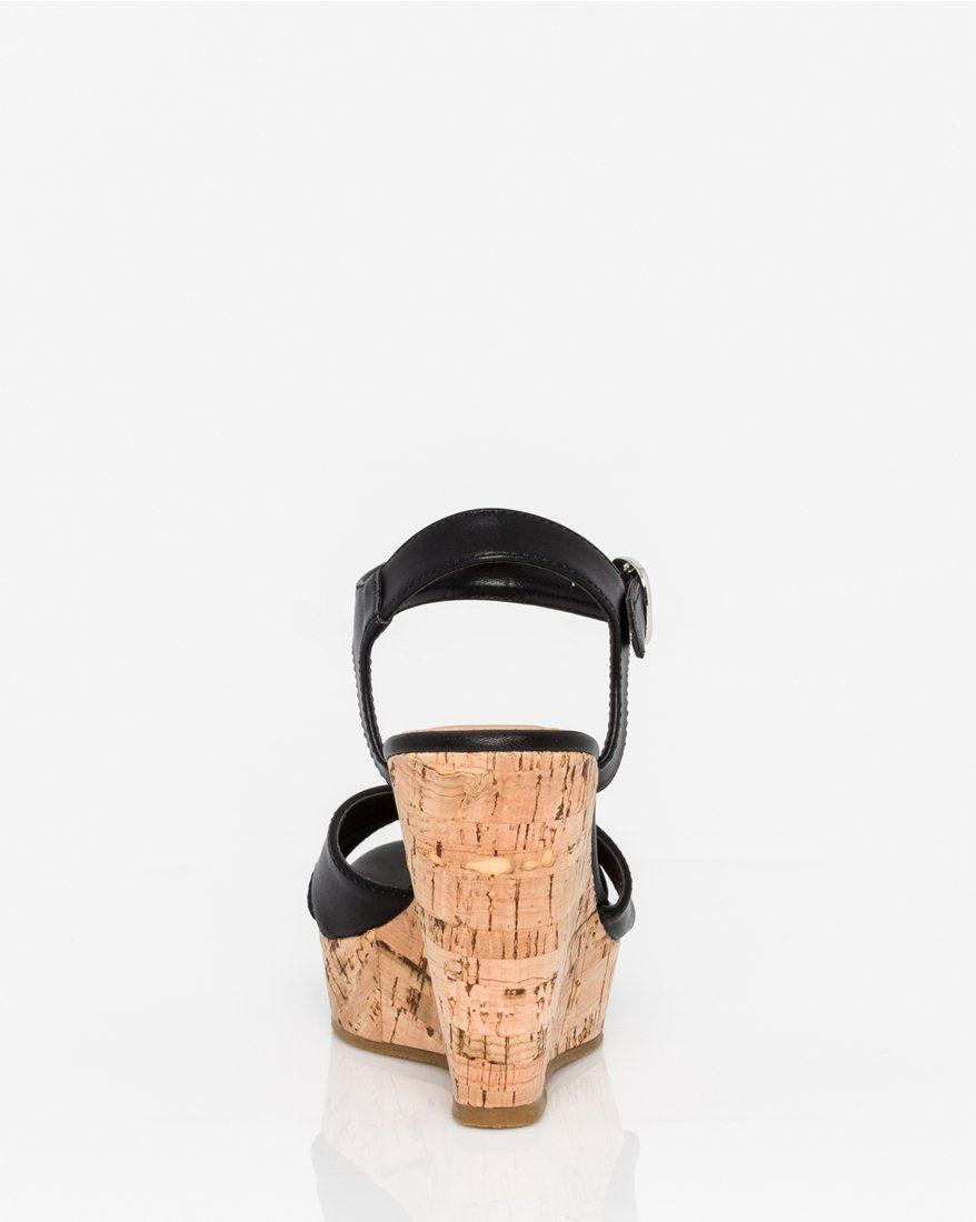 LE CHÂTEAU Women's Leather-Like Open Toe Wedge Sandal,9,Black by LE CHÂTEAU (Image #3)