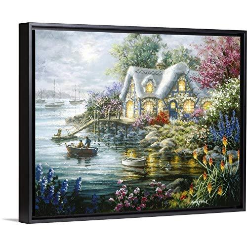 Cottage Cove Black Floating Frame Canvas Art, 32