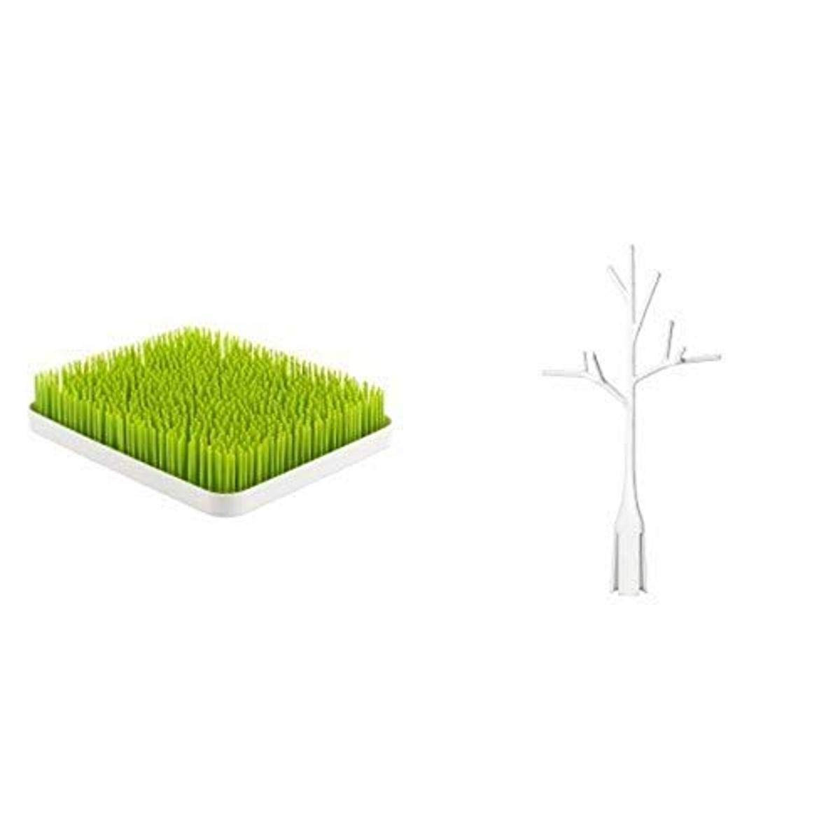 Boon Twig Grass and Lawn Drying Rack Accessory, White,Twig White with Lawn Countertop Drying Rack Green