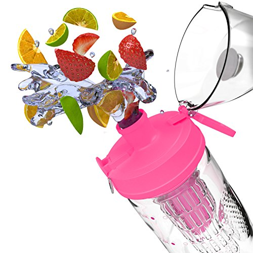 Bevgo Infuser Water Bottle – Large 32oz – Hydration Timeline Tracker – Detachable Ice Gel Ball With Flip Top Lid – Quit Sugar – Save Money – Multiple Colors with Recipe Book Gift Included