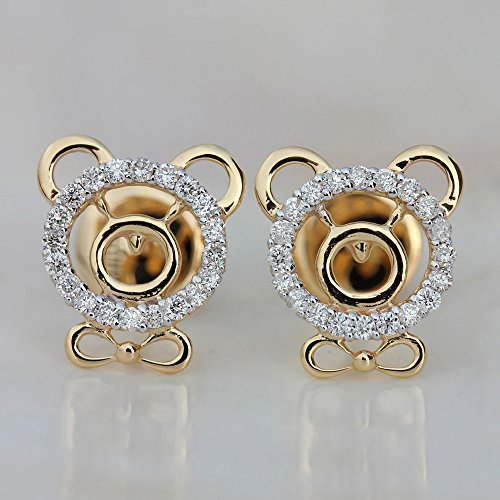 Solid 18k Yellow Gold Pave Diamond Teddy Bear Stud Earrings Baby Girl Kids Handmade Jewelry (Teddy Pave)