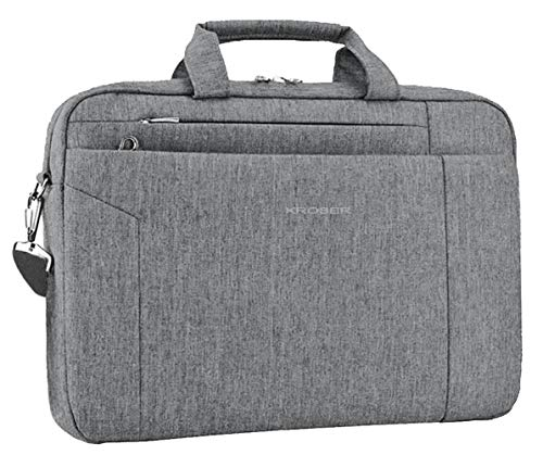 KROSER Laptop Bag 15.6 Inch Briefcase Shoulder Messenger Bag Water Repellent Laptop Bag Satchel Tablet Bussiness Carrying Handbag Laptop Sleeve for Women and Men-Grey