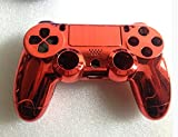 Replacement Chrome Plating Housing Shell Parts Case Kit Cover for PS4 Controller DualShock 4 Color Red