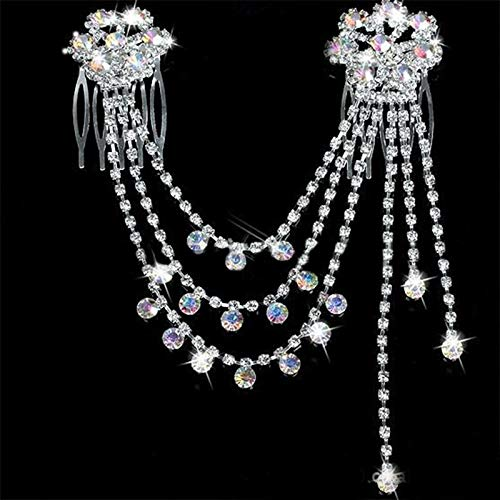 Women Crystal Rhinestone Pearl Hairpin Flower Hair Clips Comb Wedding Jewelry (Style - ab Color)