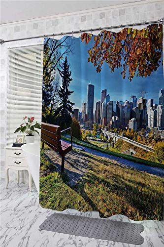 homecoco City Polyester Fabric Shower Curtain Park Bench Overlooking The Skyline of Calgary Alberta During Autumn Tranquil Urban Non Toxic Shower Curtain Multicolor W55 x L84]()