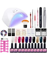 Saint-Acior Kit Uñas Semipermanente10PCS Esmalte en Gel Soak off 8ml 36W UV/LED Lámpara Secador de Uñas Top Coat Base Coat Kit para Manicura Pedicura