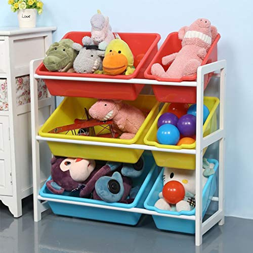 (Sodoop Children Toy Rack, 3 Tier Solid Wood Kids' Toys Organizer with 6 Combo Plastic Bins and Extra Finishing Storage Organizer Box Shelf Drawer (Shipped by)