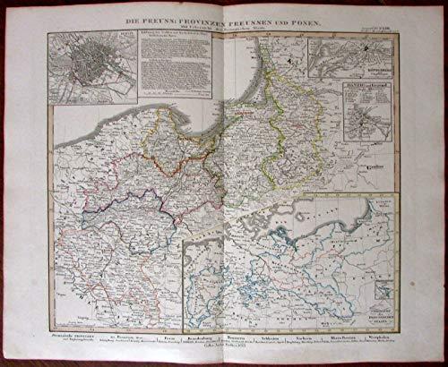 Prussia Provinces Poland Danzig Berlin plan 1853 Stulpnagel antique map Stieler