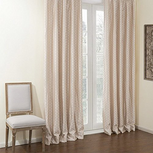 KoTing Home Fashion Modern Ivory Striped and Brown Wave Curve Geometry Leisure Jacquard Energy Saving Curtains Drapes Grommet Top,1 Panel,42 by 96-Inch