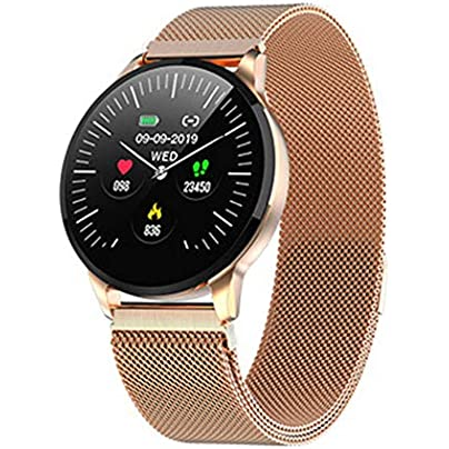 CHXFit Smart watch with waterproof Bluetooth pedometer heart rate monitoring sleep monitoring steel wristband gold Estimated Price £51.40 -
