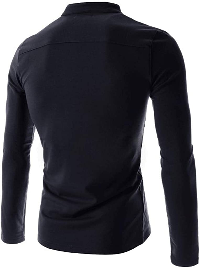 Mens Casual Loose Fit Henley T-Shirts Loose Sleeve Front Placket Tops Sportswear V Neck Cotton Tops Blouse