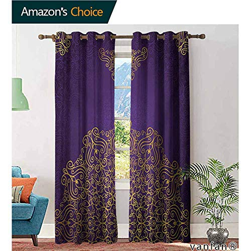 (Big datastore Pattern DIY Available Curtain,MandalaVintage Ornament with Eastern Ottoman Artistic Motifs Revival Swirling Design,with Solid Grommet Top,Purple Yellow,W84 xL108)