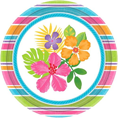 (amscan Sun-Sational Summer Luau Party Sophisticated Hibiscus Round Plates Tableware, Multicolor, 7