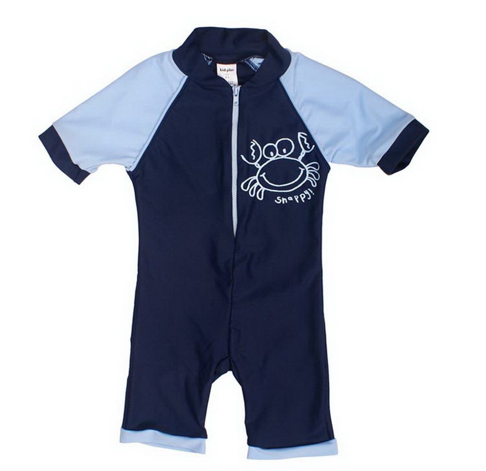 Navy Boys Body Suit Patchwork Swimsuit One Piece, 6-7 Years Old PANDA SUPERSTORE PS-SPO2420245011-EMILY00895