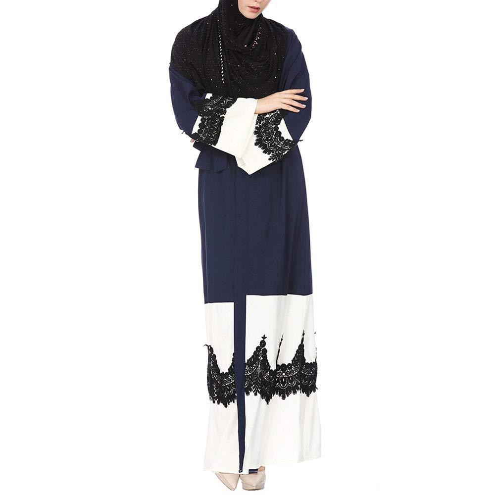Molyveva Women New Muslim Islamic Kimono Lace Stitching Cardigan Loose Robe Coat by Molyveva Women Coat (Image #2)