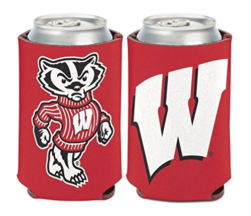 2-Sided Can Coolers NCAA Wisconsin Badgers 2 PACK 12 oz