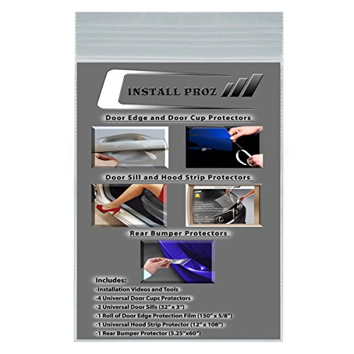 Install Proz Self-Healing Clear Paint Protection Film Kits (Bundle-Hood Strip, Door Edge, Cup, Sill, ()