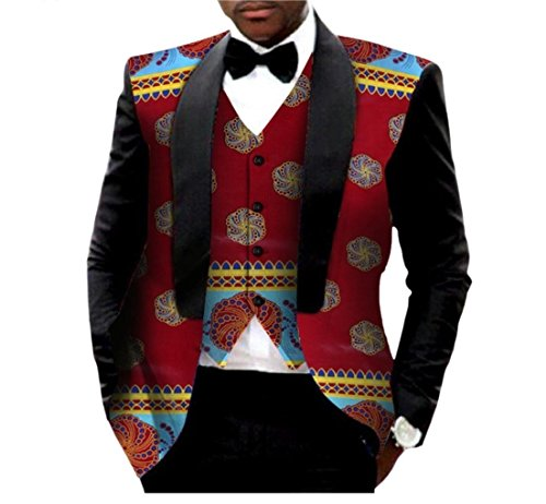 - Abetteric Men African Print Dashiki Vest Outwear Tops Batik Business Suit 17 S