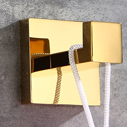 WINCASE 2 Pieces Robe Hook Towel Hook Clothes Hook Polished Gold finished, Wall Mounted Bathroom Accessories Solid Stainless Steel Construction by WINCASE (Image #6)