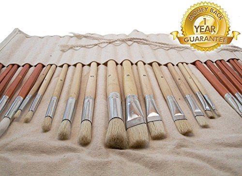 - Art Paint Brush Set (24-piece) ● Highest Quality Synthetic and Natural Bristles for Oil and Acrylic ● Includes Free Canvas Storage Holder Case ● Best Variety of Round and Flat Long Handled Brushes ● ***Full One Year Quality Guarantee*** ● Perfect Paintbrush Kit with Organizer Case for Artists, Art Students, Kids and Crafters By Kehn Creations (Tm) Premium of Art and Craft Supplies