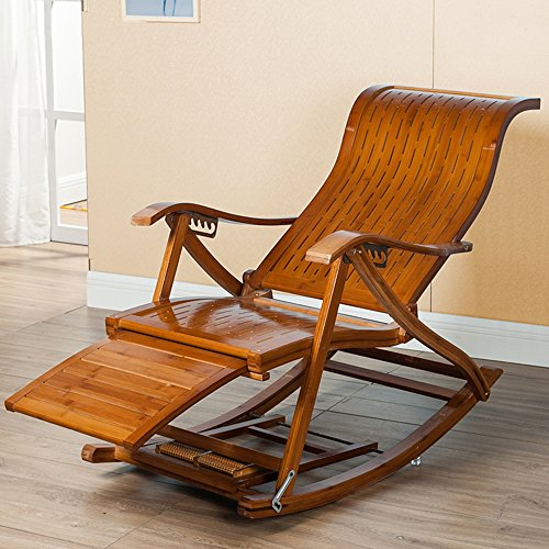 ZXQZ Rocking Chair Imitation Antique Leisure Bamboo Rocking Chair Household Siesta Chair Foldable Telescopic Massage Chair Lazy ()