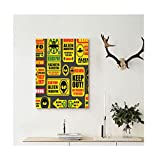 Liguo88 Custom canvas Outer Space Decor Warning Ufo Signs with Alien Faces Heads Galactic Paranormal Activity Design Wall Hanging for Yellow