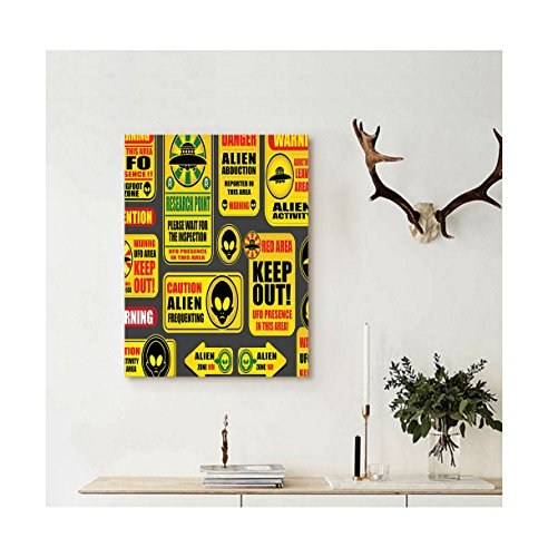 Liguo88 Custom canvas Outer Space Decor Warning Ufo Signs with Alien Faces Heads Galactic Paranormal Activity Design Wall Hanging for Yellow by Liguo88