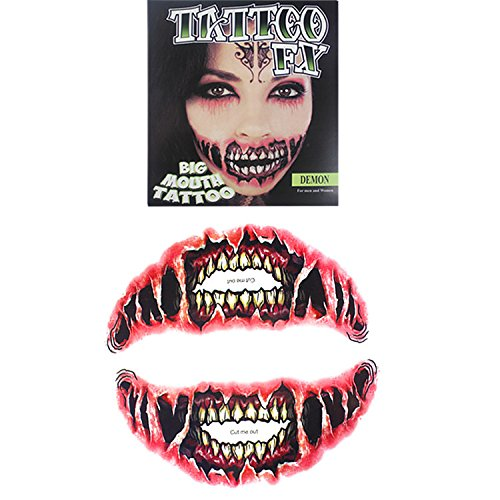 Temporary Big mouth Scar Sticker, The Best Tattoo for Halloween|Masquerade|Cosplay Etc, Zombie Scars with Fake Scab Blood Costume Makeup Water Proof Face Paster Kit (Type (Halloween Devil Makeup Ideas)
