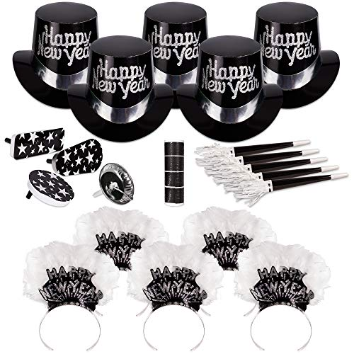 Windy City Novelties Silver Grand New Years Party Kit for 50 -