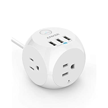 Power Strip with USB, Anker PowerPort Cube with 3 Outlets and 3 USB Ports, Portable, 5 ft Extension Cord, Overload Protection for iPhone XS/XR, Compact for Travel, Cruise Ship and Office [UL Listed]