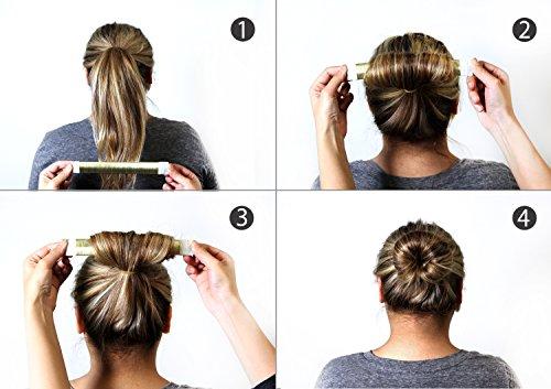 Adorox 3 Piece Beauty Hair Bun Maker, Magic Bun Shape Donut Hair Styling Making DIY Curler Roller Hairstyle Tools, French Twist Doughnuts Hair Accessories …