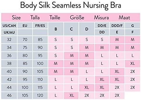 L, Pfingstrose Bravado Damen Schwangerschafts-BH Body Silk Seamless Nursing Bra