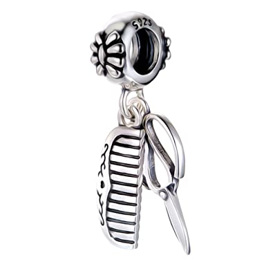 Scissors & Comb Charm Bracelet Bead - Sterling Silver 925 - Gift boxed