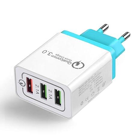 FastDIrect Cargador Rápido 3.0 USB 3 Puertos Adaptador de Cargador Portatil Inalambrico para Viaje, Teléfono Móvil, Casa (Azul)