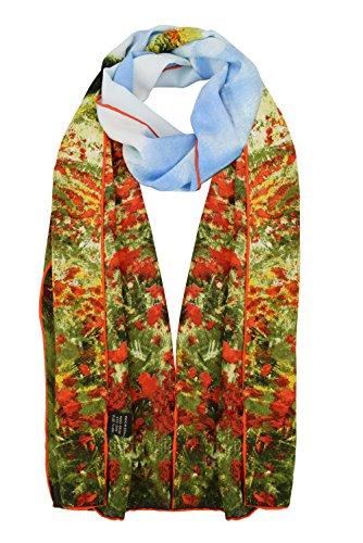 Poppy Field Argenteuil (ELEGNA Women 100% Silk Art Collection Scarves (Poppy Field in Argenteuil))