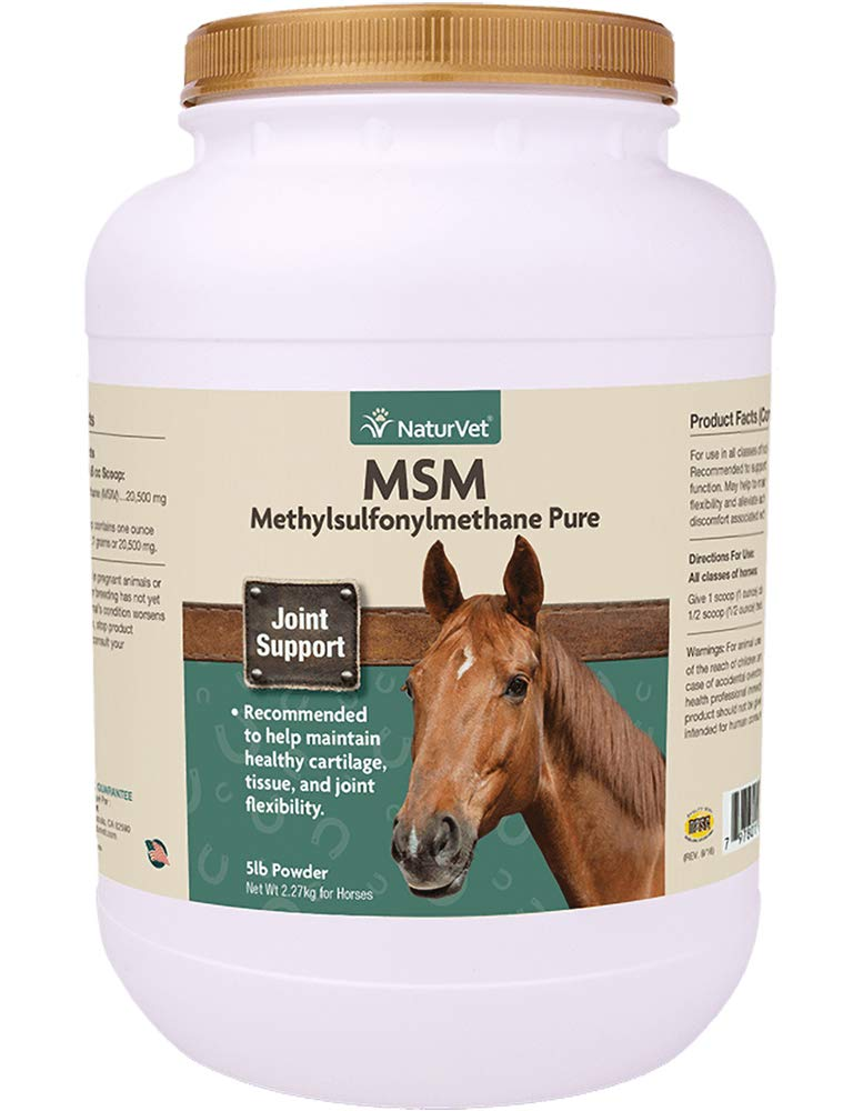 NaturVet - MSM (Methylsulfonylmethane) Pure Powder For Horses - Supports Healthy Cartilage, Tissue & Joint Flexibility - 5 lbs Powder
