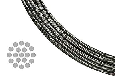 T 316 Stainless Steel Metal Wire Rope Cable for Deck Railing 1/8 Inch 1 X 19 Twist (A Bundle of 100 Feet)